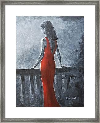 Red Balcony Dress Framed Print by Beth Maddox