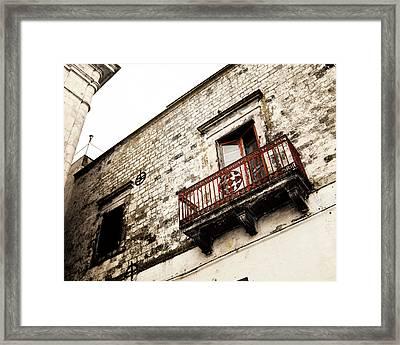 Red Balcony Framed Print