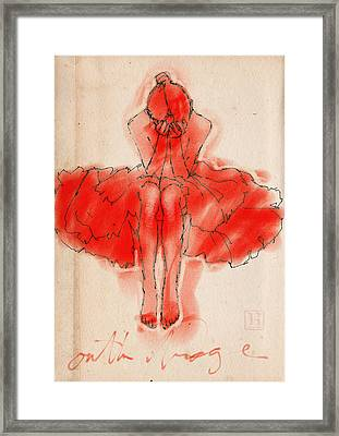 Red Ballerina Framed Print by H James Hoff