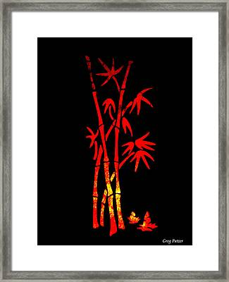 Red Bamboo Framed Print by Greg Patzer