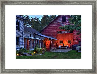 Red Barn And Farm House - Autumn In New Hampshire Framed Print
