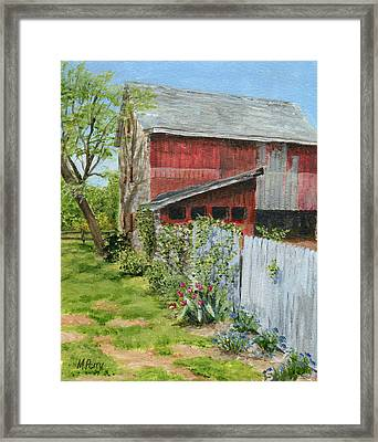 Red Barn And Gray Fence Framed Print