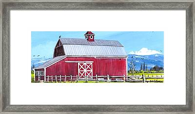 Red Barn And Mt Baker Framed Print by Bob Patterson