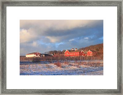 Red Barn And Orchard Winter Evening Framed Print by John Burk
