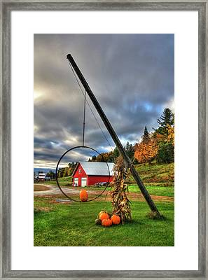 Red Barn And Pumpkins In Autumn - Vermont Framed Print