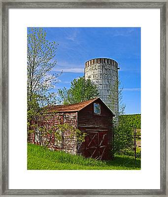 Framed Print featuring the photograph Red Barn And Silo by Paula Porterfield-Izzo