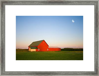 Red Barn And The Moon Framed Print