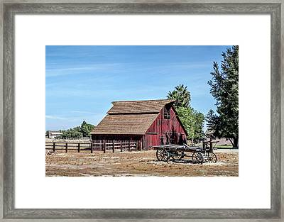 Red Barn And Wagon Framed Print