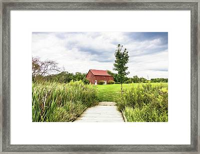 Red Barn At Dawes Arboretum Framed Print