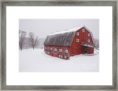Red Barn Blizzard New Hampshire Framed Print
