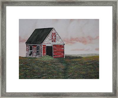 Red Barn Framed Print by Candace Shockley