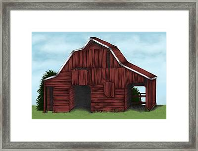 Red Barn Framed Print by Carra Leigh