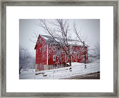 Red Barn Circa 1876 Framed Print by Sue Stefanowicz