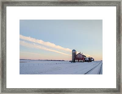 Framed Print featuring the photograph Red Barn by Dan Traun