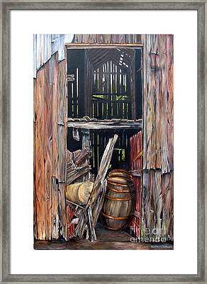 Framed Print featuring the painting Red Barn Door by Anna-Maria Dickinson