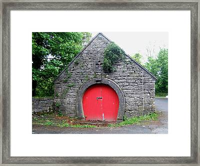 Red Barn Door In Ireland Framed Print by Jeanette Oberholtzer