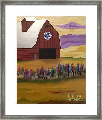 Red Barn Golden Landscape Framed Print