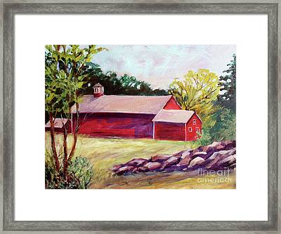 Framed Print featuring the painting Red Barn I by Priti Lathia