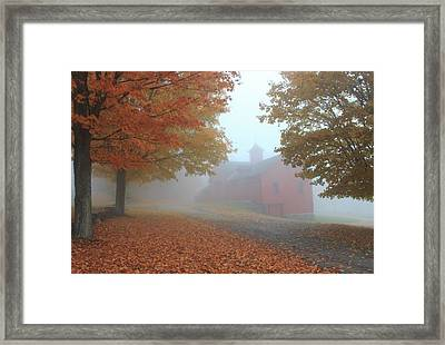 Red Barn In Autumn Fog Framed Print by John Burk