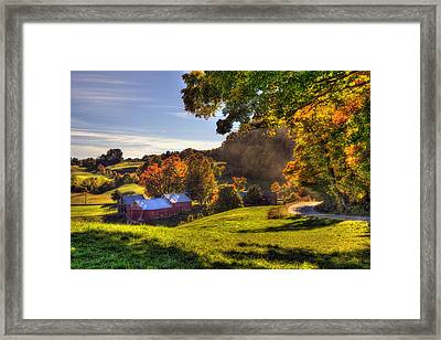 Red Barn In Autumn - Jenne Farm Framed Print