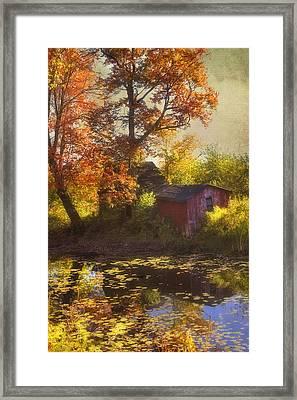 Red Barn In Autumn Framed Print by Joann Vitali