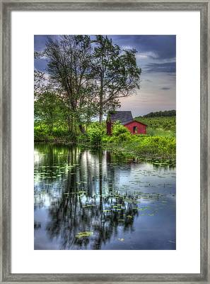 Red Barn In Country Setting Framed Print by Joann Vitali