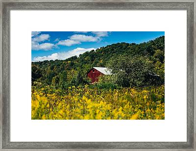 Red Barn In Early Autumn Framed Print