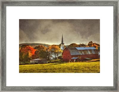 Red Barn In Fall - Peacham Vermont Framed Print