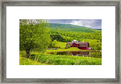 Framed Print featuring the photograph Red Barn In Green Mountains by Paula Porterfield-Izzo