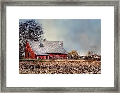 Red Barn In Late Fall Framed Print