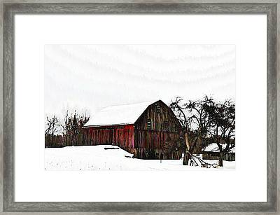 Red Barn In Snow Framed Print by Bill Cannon