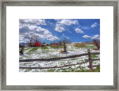 Red Barn In Snow - New Hampshire Framed Print