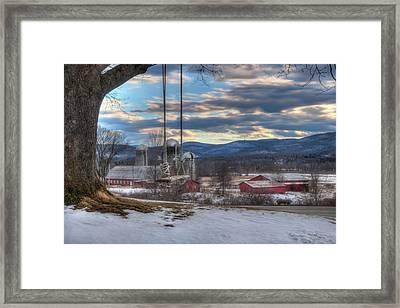 Red Barn In Snow - Vermont Farm Scene Framed Print