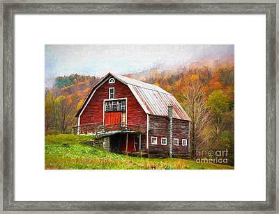 Red Barn In The Blue Ridge Mountains Framed Print by Garland Johnson