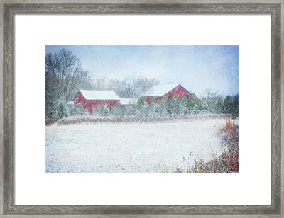Red Barn In Winter At Retzer Nature Center  Framed Print by Jennifer Rondinelli Reilly - Fine Art Photography