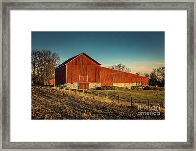 Red Barn In Winter Framed Print