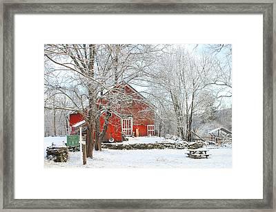 Red Barn In Winter Framed Print by John Burk