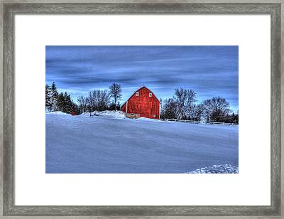 Red Barn In Winter Framed Print by Laurie Prentice