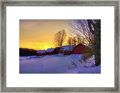 Red Barn In Winter - Vermont Framed Print