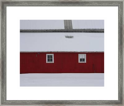 Red Barn  Framed Print by Julie Lueders
