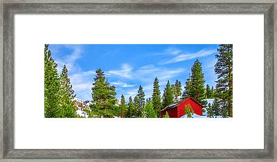 Red Barn On A Hill Framed Print by Az Jackson
