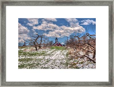 Red Barn On Farm In Winter Framed Print by Joann Vitali