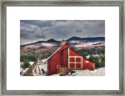 Red Barn On Old Farm - Stowe Vermont Framed Print by Joann Vitali