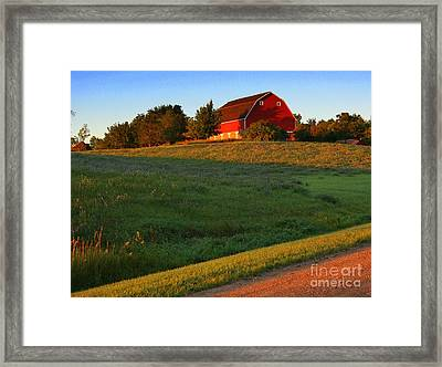 Red Barn On The Hill Framed Print by Julie Lueders