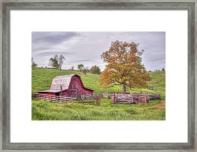 Red Barn On The Hillside Framed Print by Gregory Ballos