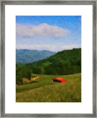 Red Barn On The Mountain Framed Print