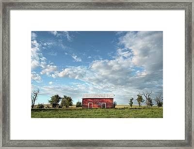 Red Barn On The Prairie Framed Print