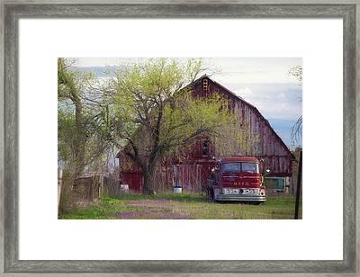 Red Barn Red Truck Framed Print by Toni Hopper