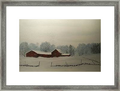 Framed Print featuring the painting Red Barn Storm by Ken Ahlering