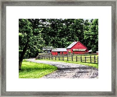 Red Barn Framed Print by Susan Savad